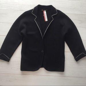 Loro Piana Italy Silk Knit Blazer Black Sz XL/48